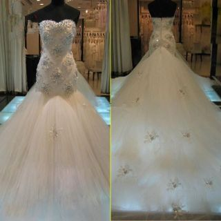 Amber's Strapless Beading Mermaid Wedding Gown