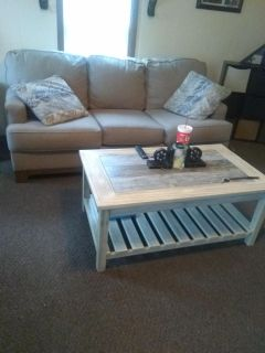 Ashley couch, l seat, coffee and end table and lamp only used 6 months