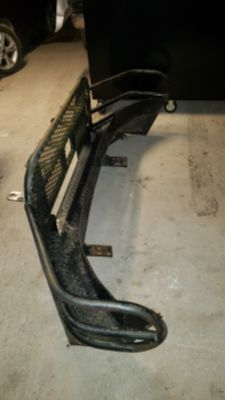 Large steel brush guard, bumper, and tool box set