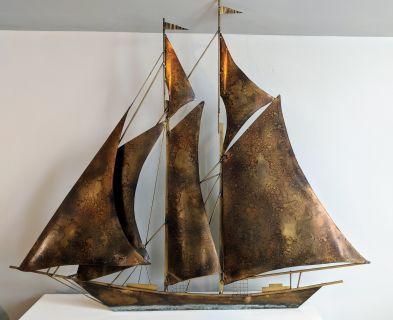 Curtis Jere Era Mid-Century Brass & Steel Sailboat
