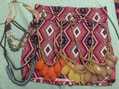 Necklace and tribal skirt lot ( total items 6)