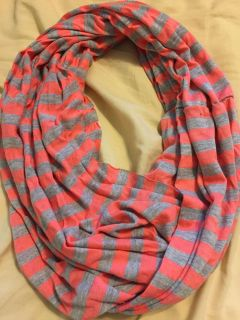Coral and Gray t-short material Infinity Scarf