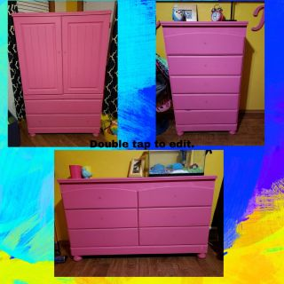 3 pink painted dressers. I have the unpainted original knobs. $500/set of 3