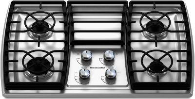 "KitchenAid 30"" Wide Drop In Gas Cooktop w/ 4 Sealed Burners 17000 BTU"