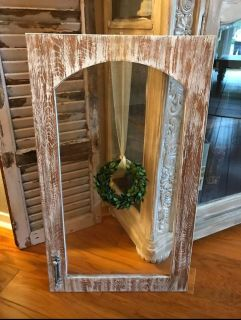 Distressed Wood/ Glass Wall Decor ( wreath not included)