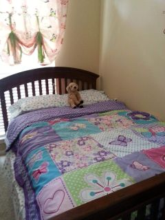 solid wood full bed and dresser