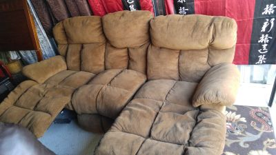 Brown micro suede double recliner couch