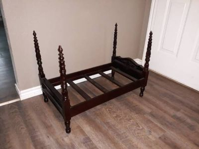 Wood four poster dog bed
