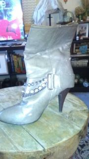 Dollhouse ..Light gray high heel boots with diamond accents