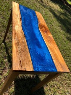 Maple and Ocean Blue River table with walnut base