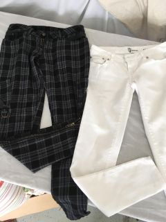 White skinny jeans and plaid punk rock pants