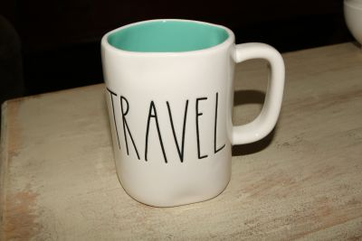 "RAE DUNN ""TRAVEL"" coffee mug"