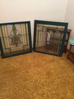 ESTATE SALE.... VINTAGE STAINED GLASS WINDOWS