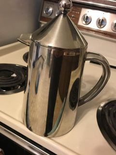 Sterling silver French press coffee maker
