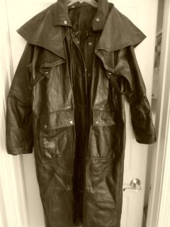 LOWERED PRICE - Mens Long Leather Coat