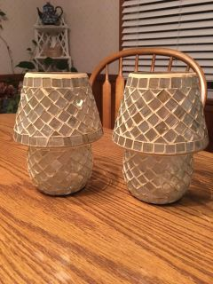 Set of Pretty Mosaic Candle Holders
