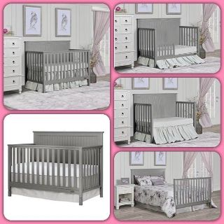 Dream On Me Alexa 5 in 1 Convertible crib, Storm Grey, Retail: $150, New In Box