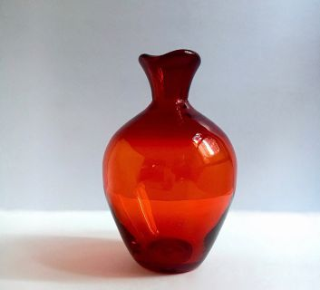 MCM Hand Blown Red Art Glass Carafe