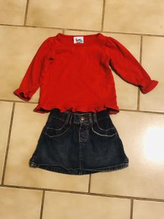 Jean Skirt With Red Shirt Outfit