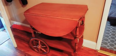 Vintage Wood Rolling Cart w/ drawer & fold out sides