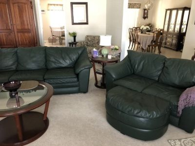 Green Leather Sofa and Loveseat
