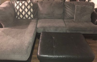 Grey and black sectional (ottoman and 2 pillows included)