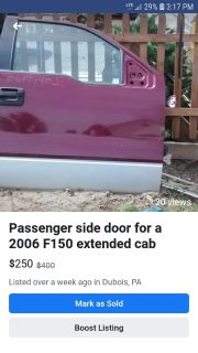 Passenger door for 2005/6 ford 150 extended cab