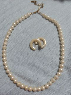 1928 brand 16 in costume pearl necklace with bonus earrings