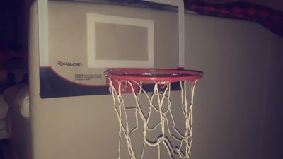 mini red and white basketball hoop