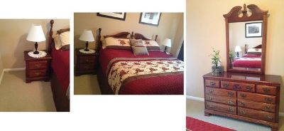 $500, Cherry Wood King bedroom set with mattress ,dresser ,2 night stands