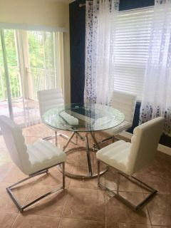 Dining Table W/ 4 White Leather Chairs