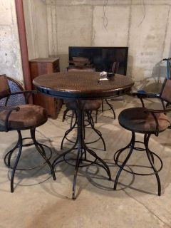 Copper Top Pub Table with Metal/Suede Barstools