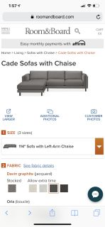 Room & Board Gray Sectional