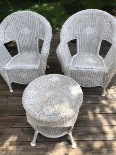 Wicker chairs and table