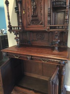 Circa 1900 French Oak Carved Chapel Buffet....REDUCED TO SELL
