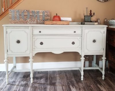Refinished Large Antique Sideboard Buffet