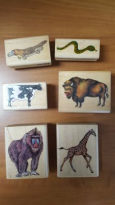 Bundle of 90's Retired Animal Rubber Stamps