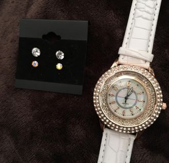 Funky boho vintage style faux alligator and Rosegold Watch