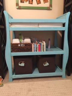 Blue Changing Table with changing pad & shelf storage