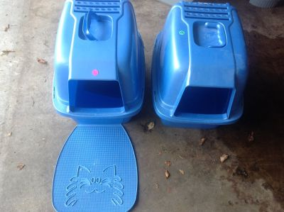 One Blue Kitty Litter Box and one matt