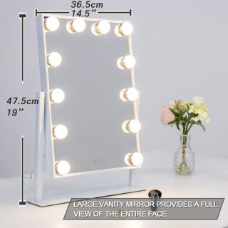 Hollywood Style Lighted Vanity Mirror with 12 Dimmable LED Bulbs and Touch Control Design White