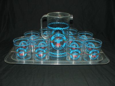 Vintage Bay Club Marina Serving Tray, Pitcher and Tumblers Barware