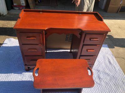 Antique Desk and Seat w/Mirror