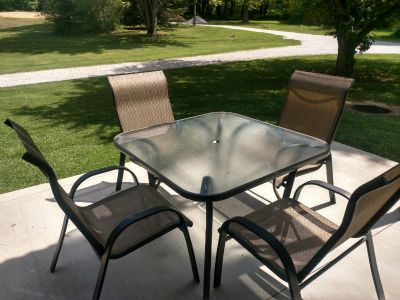 Patio furniture table and chair set