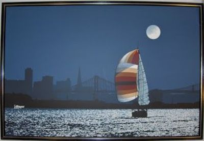 "Oil Painting, original, ""The Sail at California Bay at Full Moon"""
