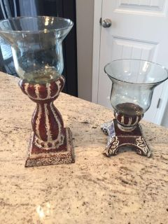 Southern Living at Home candle holders. Tall one is 11 inches and the small one is 8 inches tall. EUC