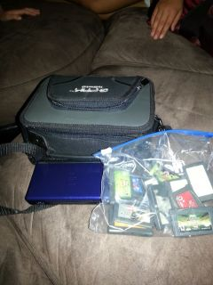 REDUCED...BLUE DS LITE W/BLACK CARRYING CASE N 13 GAMEBOY ADVANCE GAMES