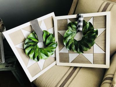 Wood frames with wreaths