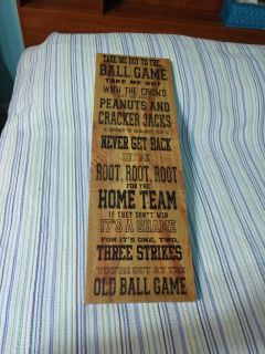 """Chicago Cubs """"Take me out to the ball game"""" song on sign. Measurements are 30 X 10 inches"""