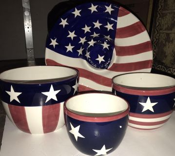 New American Flag 14 Tray and 3 Bowls $25 for All